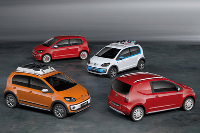 2012 Volkswagen x up!, Swiss up!, winter up!, cargo up! (clockwise from left)